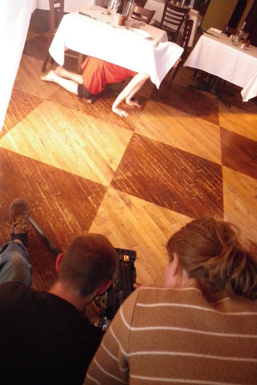 Derek DeLuzio, Carrie Noel Richer and Kate W Kosharek (under the table)